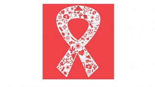Ribbon on red background